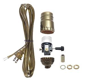 B&P Lamp Antique Brass Socket, Ant. Brass Cord Set