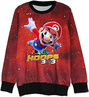 GEIUEIMAN Super Mario Unisex Rotondo Collo Manica Lunga Stampata Sweatshirt Sportive Comoda Pullover per Uomo e Donne