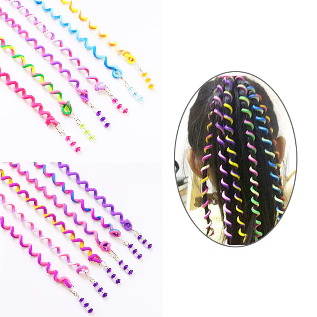 ThEast Girls Hair Styling Twister Clip, Women Hair Braider DIY Tool Accessories, Hair beads for braids for girls 12PCS (B)