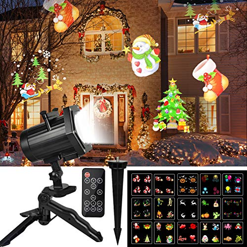 UNIFUN 15 Patterns LED Projector Waterproof Dynamic Outdoor Lights Spotlights Decoration for Christmas, Halloween, Birthday, Valentine's Day, Wedding, Slides
