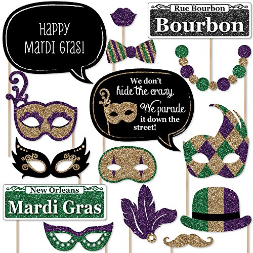 Big Dot of Happiness Mardi Gras - Masquerade Party Photo Booth Props Kit - 20 Count ()