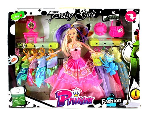 VT Pretty Girl Princess Children's Kid's Toy Fashion Doll Playset w/ Doll, Assorted Dresses, Accessories