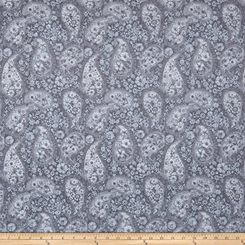- Santee Print Works 108in Wide Back Paisley Grey Fabric by The Yard