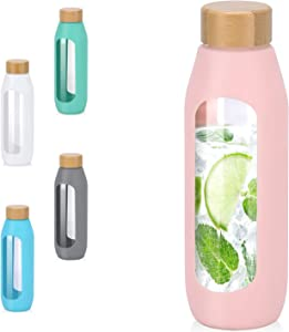 Kodrine 20oz Glass Bottles with Sleeve Silicone Sleeve,Bamboo Lid Leak Proof Durable Glass Water Tumbler, Eco Friendly & BPA Free - Reusable Pink