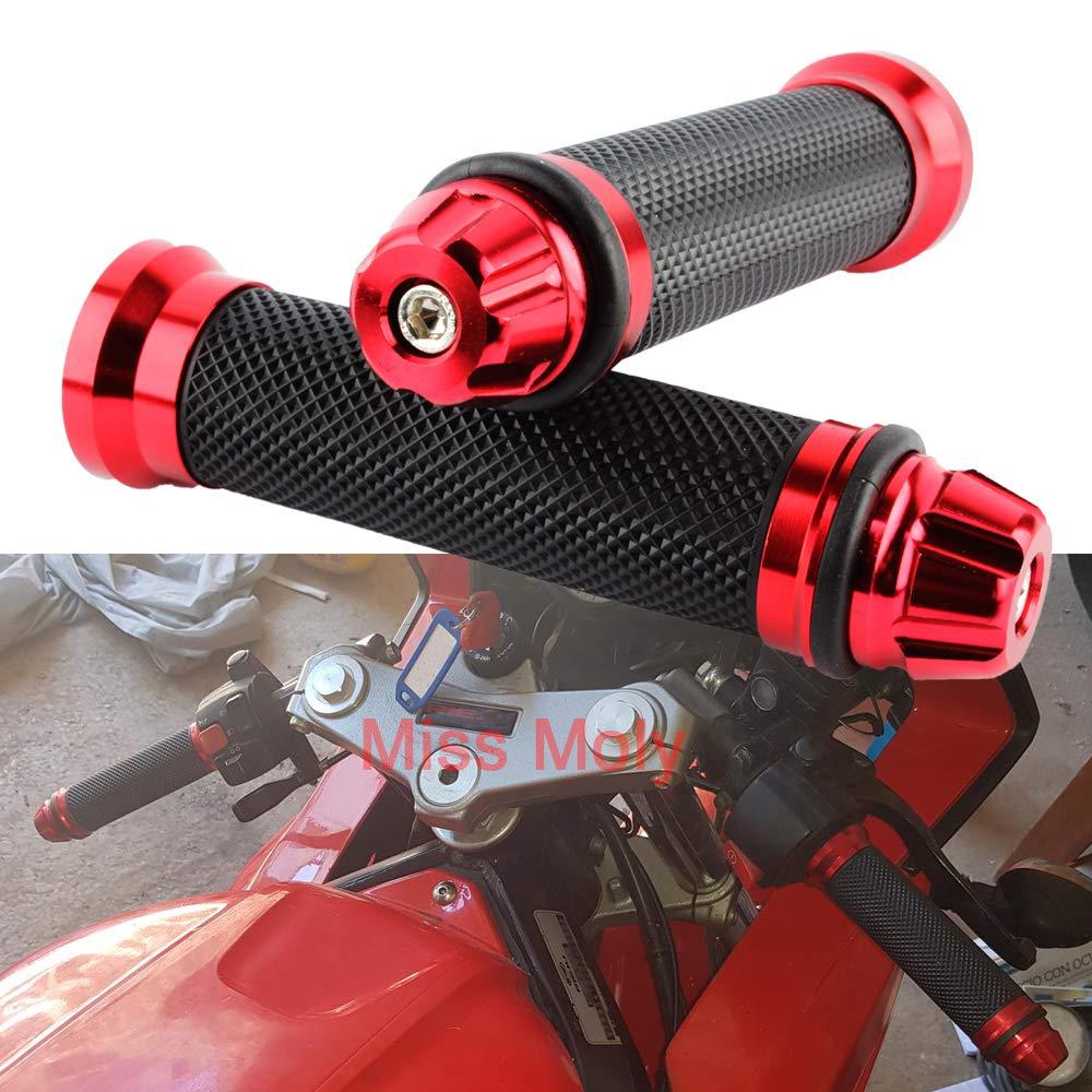 Rouge Antid/érapant Caoutchouc Poign/ées de Guidon pour Moto 7//8 22mm Poign/ées Moto