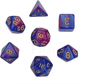 7Pcs cubos cubos polychromatic conjunto para D&D DND, juegos de mesa de GRP (Color : Lila und Blau) : Amazon.es: Deportes y aire libre