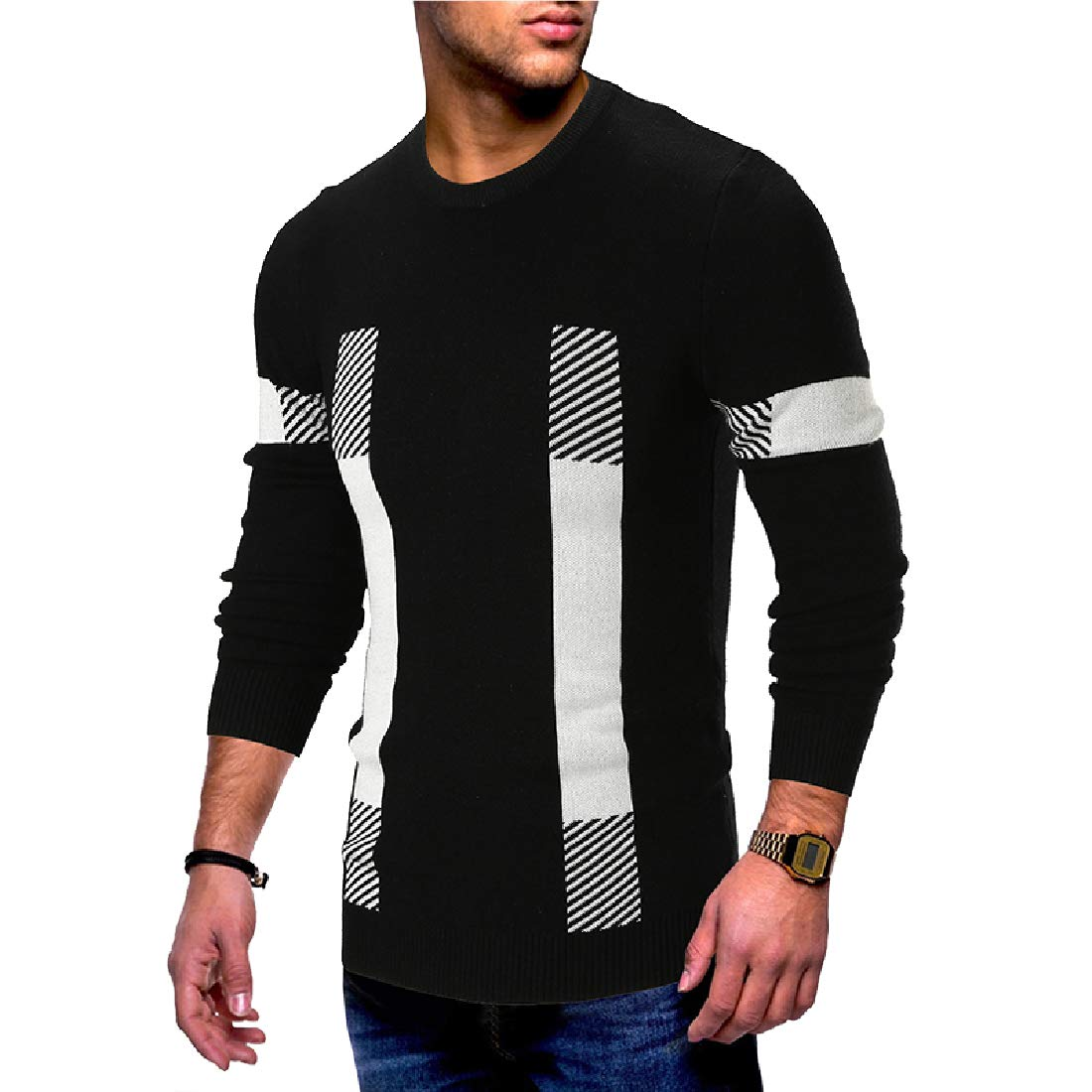 YUNY Men Autumn Winter Crew-Neck Knit Soft Fashion Fit Pullover Sweater Black M