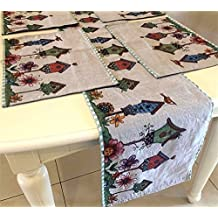 Set of 1 Tapestry Table Runner and 4 Placemats,Colorfulife Boutique Art Jacquard Design Mats Indoor Outdoor Dining Accessories for Festival Home Decoration (5# Bird House)