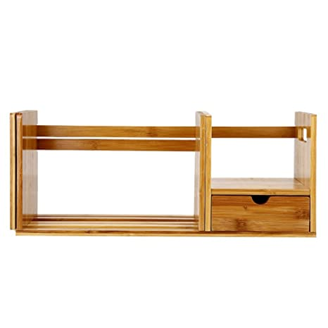 Superbe Tabletop Book Case, Bamboo Wood Extendable Tabletop Book Shelves Bookcase  Organizer With Single Drawer