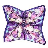 ETSYG 32'' Silk Scarf Women's Purple Painting Flowers Pattern Large Square Satin Headscarf Headdress