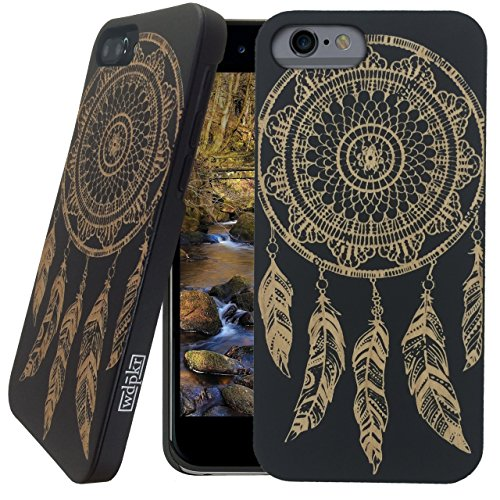 Wood iPhone Case - iPhone 6s PLUS / iPhone 6 PLUS Case - WDPKR Wooden Phone Cover - UNIQUE High Contrast Black Painted Wood Bumper Accessory for Apple iPhone 6s PLUS / 6 PLUS (Dream Catcher)