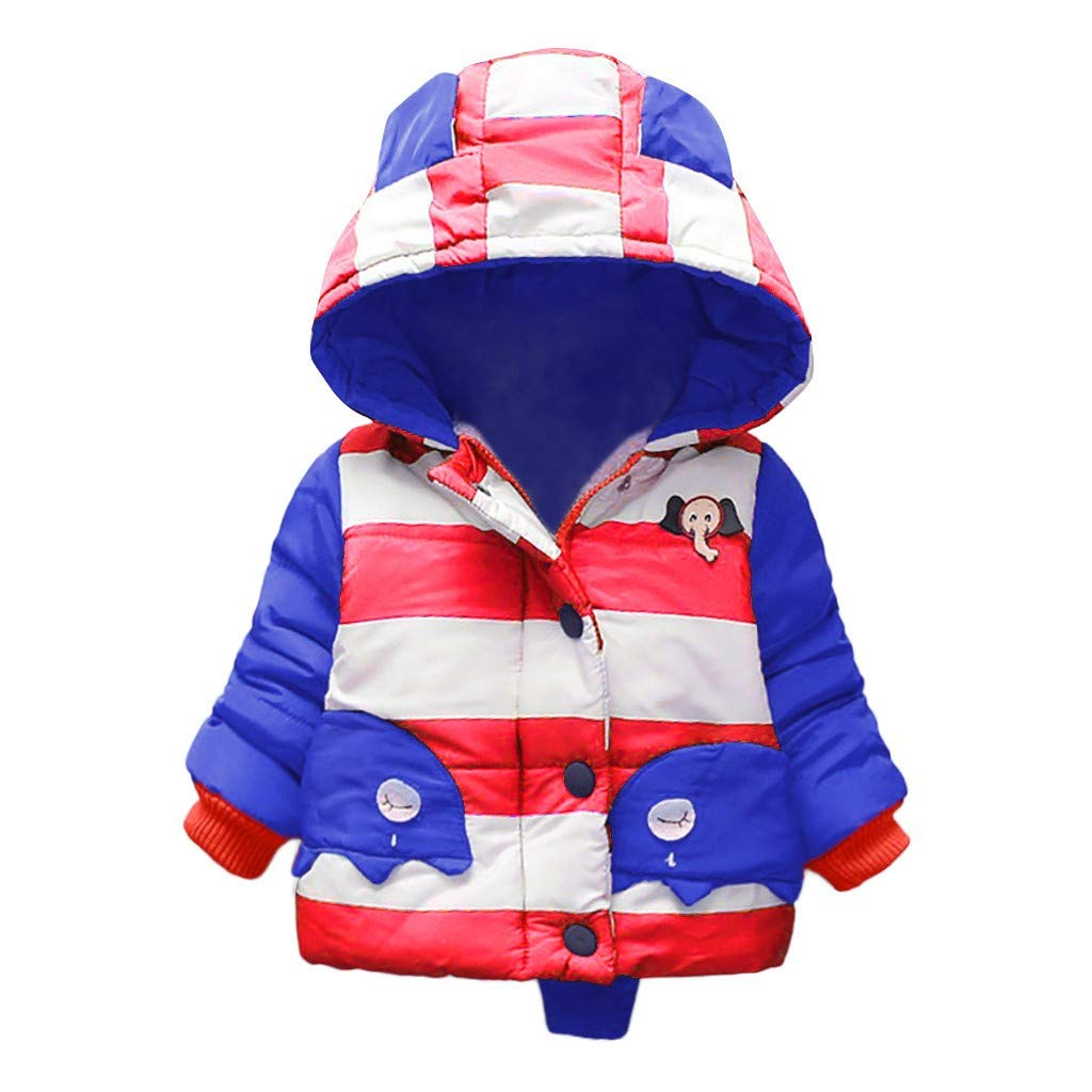 BFYOU Children Kids Winter Cartoon Warm Patchwork Color Zipper Jacket Hooded Coat Blue by BFYOU_ Girl Clothing