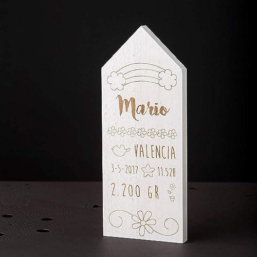Casita en madera 12x30cm para personalizar con los datos del ...