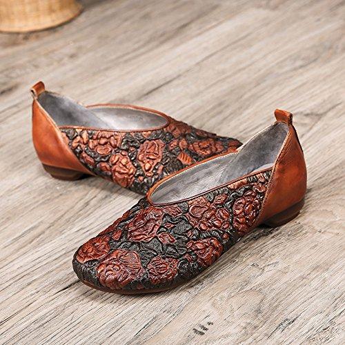 Mujeres Pedal Retro Grabado Zapatos Relieve Las con Hechos a Populares Zapatos Casuales Nacional Viento ZFNYY Mano de el EN bajo un XnYaYq
