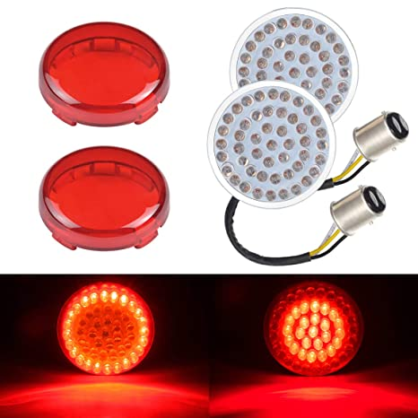 4pcs Red Lens Turn Signals Light Cover Fit For Electra Glide Softail Sportster