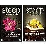 Steep By Bigelow Organic Gluten-Free Non-GMO Tea 2 Flavor Variety Bundle: (1) Bigelow Organic Rooibos Hibiscus Herbal Tea, and (1) Bigelow Organic Dandelion Peach Rooibos & Green Tea, 1.18-1.60 Oz Ea