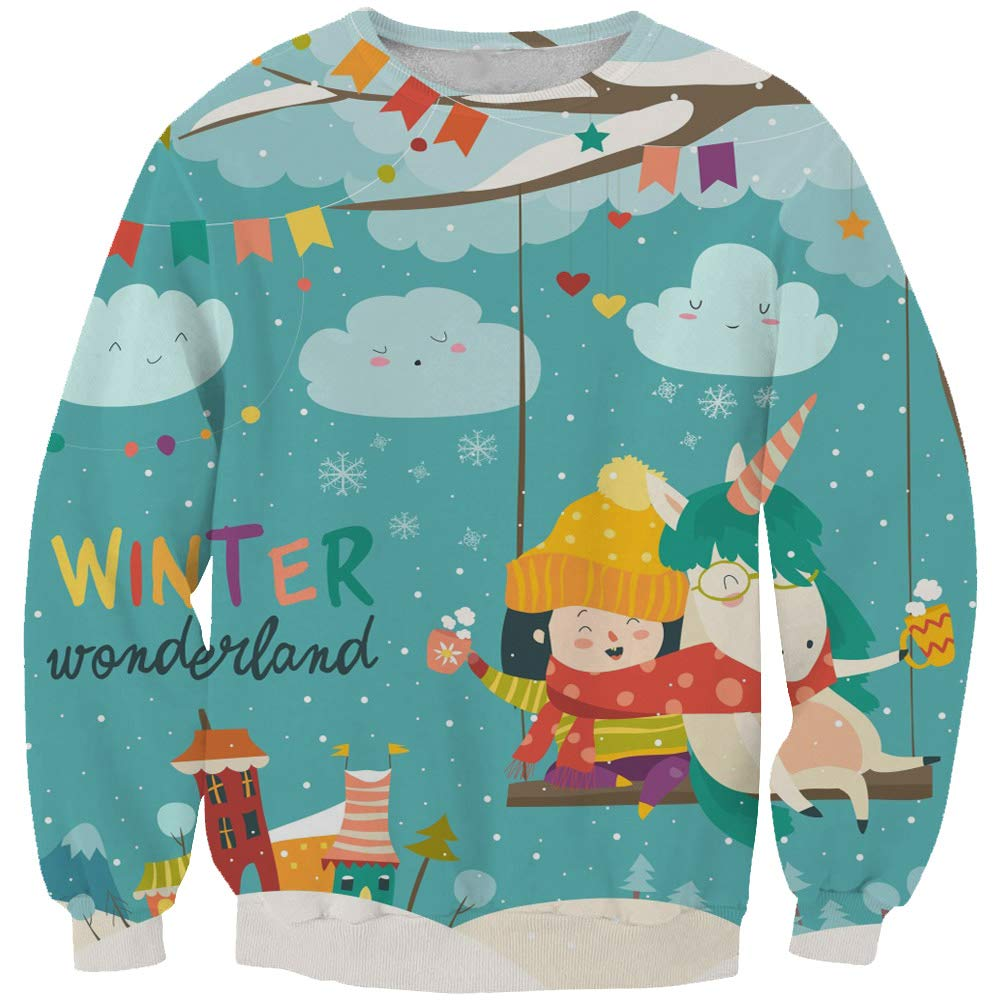 KIDVOVOU Kids Unicorn Gift Hoodie Pullover Unicorn Sweatshirt Girls,5-6years,Winter Festival by KIDVOVOU (Image #1)