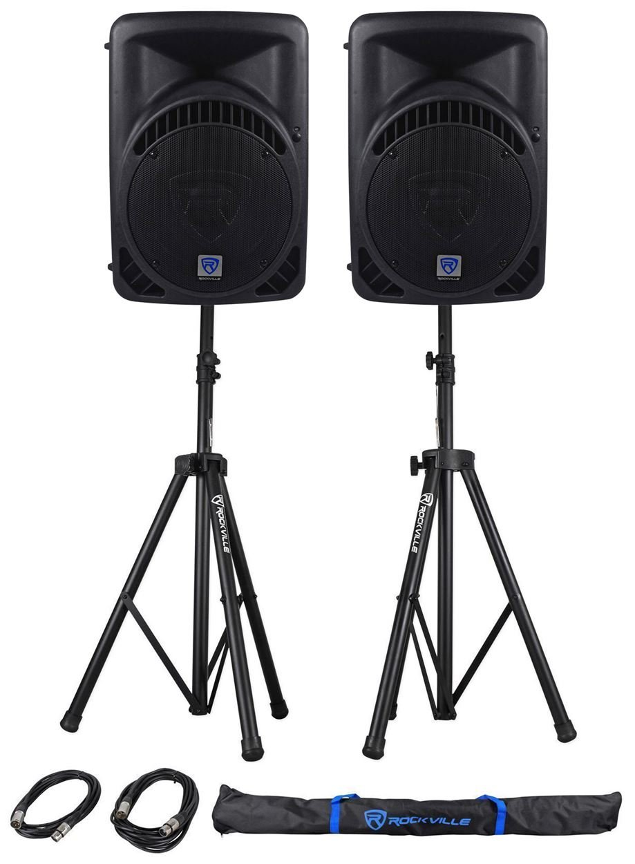 Package: (2) Rockville RPG12BT 12'' Active/Powered DJ/PA Speakers Totaling 1600 Watt With Built In Bluetooth, Graphic EQ + Rockville RVSS2-XLR Pair of Adjustable Pro Speaker Stands + (2) XLR Male to Female Cables + Carrying Case
