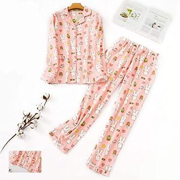 Pijama De Manga Larga Para Mujer,Conjunto De Pijamas De Algodón De ...