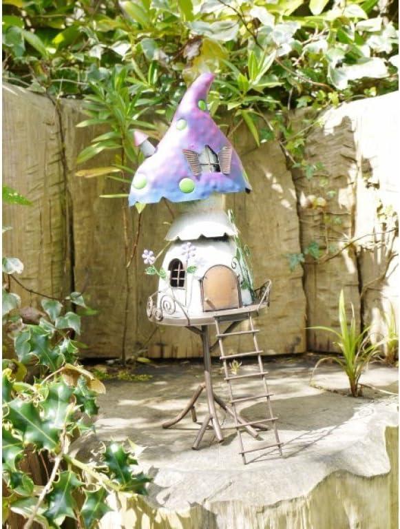 Lawn Ornament Garden F/ée Th/éi/ère Maison Arbre Maison Jardin Ornement Elf en M/étal Sculpture Home Decor Neuf Fairy Treehouse D Statues