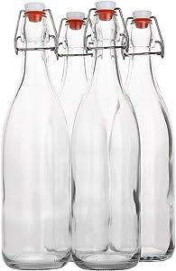 Swing Top Glass Bottles - Flip Top Brewing Bottles For Kombucha, Kefir, Beer - Oil, Vinegar, Beverages Clear Color - Air Tight Silicone Cap - Leak Proof - 33.75 oz. (1000 ml.) (Set Of 4PK.)(4)