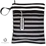 Kaydee Baby Canvas Wet Dry Cloth Diaper Swimsuit Bag - Mesh Outer Pocket for Dry Items - Waterproof PUL for Damp Clothes - Perfect Registry Gift (Black and White Stripe) (Black White Stripe)