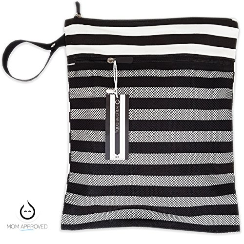 Kaydee Baby Canvas Wet Dry Cloth Diaper Swimsuit Bag - Mesh Outer Pocket for Dry Items - Waterproof PUL for Damp Clothes - Perfect Registry Gift (Black and White Stripe) (Black White Stripe) from Kaydee Baby