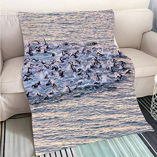 BEICICI Breathable Flannel Warm Weighted Blanket Triathletes Swim on Start of The Ironman Triathlon Competition Fun Design All-Season Blanket Bed or Couch (Dallas-triathlon)