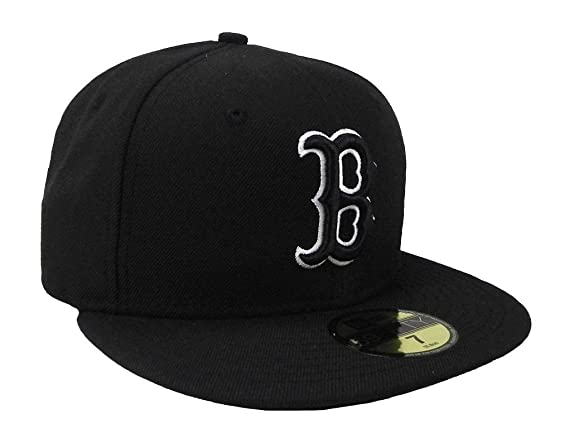 wholesale dealer 0bbf6 a147f Amazon.com   New Era MLB Cap Boston Red Sox 59fifty Men s Headwear Black white  Fitted Hat   Sports   Outdoors
