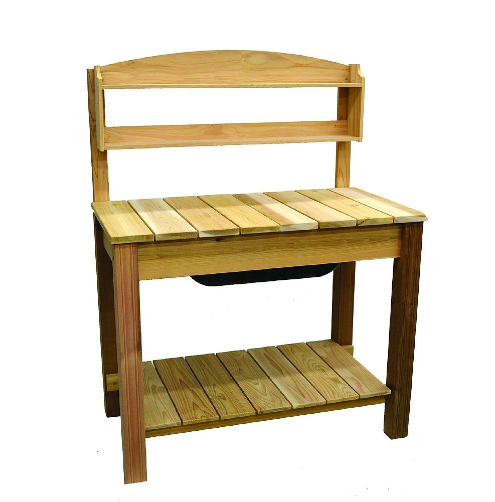 Arboria Classic Potting Bench – Cedar Garden Work Bench with 2 Shelves, 44.75 x 25.75 x 59.5 Inches by Arboria (Image #1)