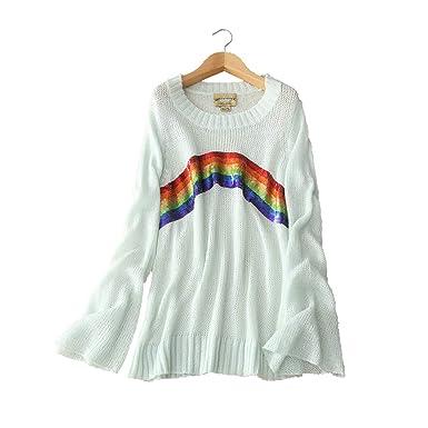 da9e11394eff YISHI Women s Long Sleeve O-Neck Slit Loose Top Oversized Knitted ...