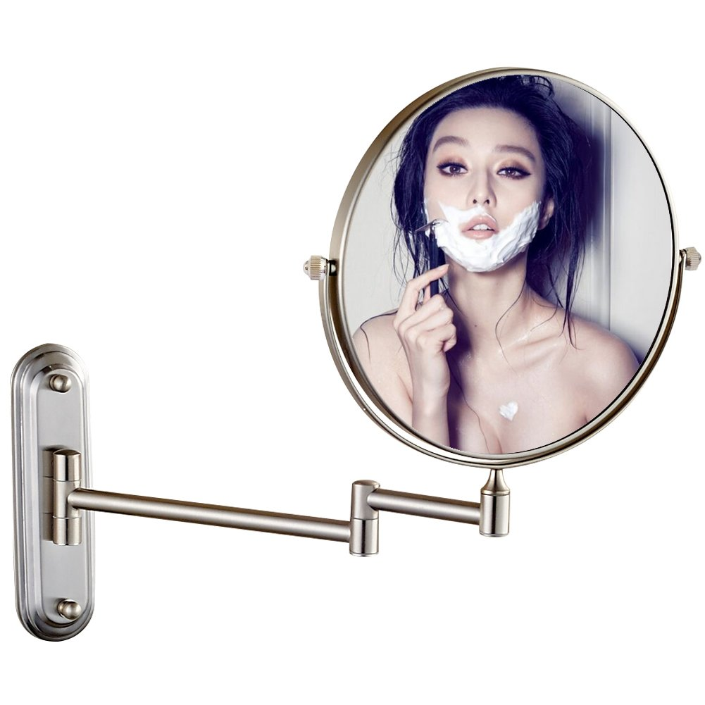 GURUN Wall Mount Magnifying Mirror Brushed Nickel Finish with 10x Magnification,8-Inch Two-Sided Swivel M1206N(8in,10x) by GURUN (Image #2)
