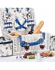Kosz wierzbowy Kosz piknikowy z naczyniami piknikowymi, sztućcami, kieliszkami, korkociągiem (Kosz piknikowy - 4 osoby)