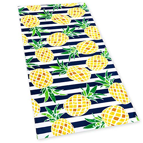 Softerry Pineapples Stripes Beach Towel 30 x 60 inches 100% Cotton (Navy)