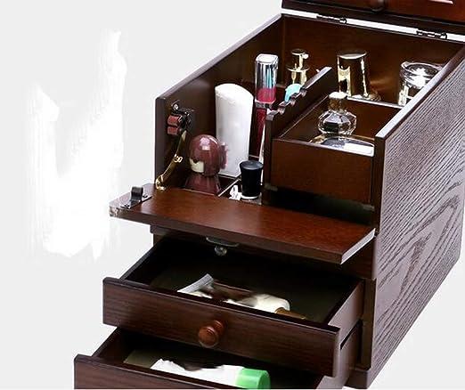 Boyishengshi - Caja de Almacenamiento para Joyas, tocador, Espejo de Madera, Estuche cosmético, Estuche de Maquillaje Vintage: Amazon.es: Juguetes y juegos