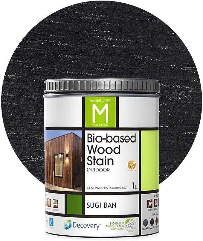 Barniz Madera Exterior   Bio-based Wood Stain   1 L   Barniz ecológico para todo tipo de madera   Lasur madera exterior   color Negro   Flexible y ...