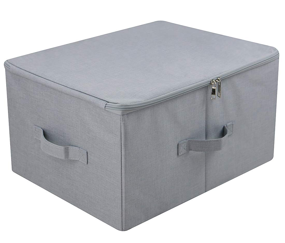 Light Gray 2 pcs iwill CREATE PRO Dust proof Closet Clothes Storage Boxes with Zippered Lid Breathable Fabric /& Collasible Design for Seasonal Garment Organization