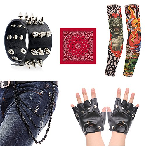 70s 80s 90s Men's Disco Rock Star Heavy Metal Accessories Set Packet of 5 (A) -