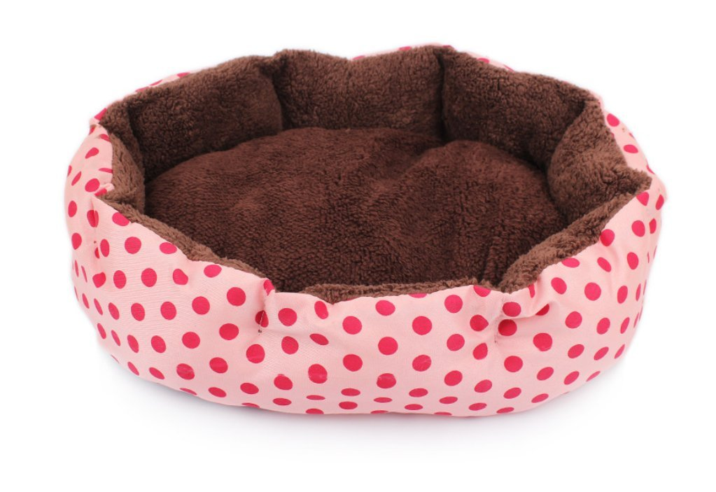 Kanggest Small Pets Dog Cat Puppy Bed Soft Indoor Nest Lovely Polka Dot Pet Bed Plush Warm Sofa Bed Mat Cushion Basket Bed for Pet Supply Size 36*30cm (Blue+Black Dot)