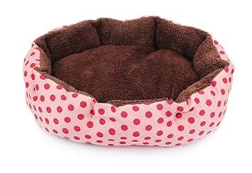 Hosaire mascotas Mat - perro y Gato caliente suave camas para mascotas Almohada Cama Cachorro Sofa Sofa Mat perrera Pad Tamano 36X30X10CM Color Rosa+Punto: ...