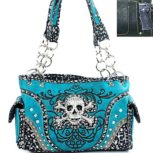 Western Concealed Carry Gun Rhinestone Skull Bones Skeleton Handbag Purse (Turquoise)