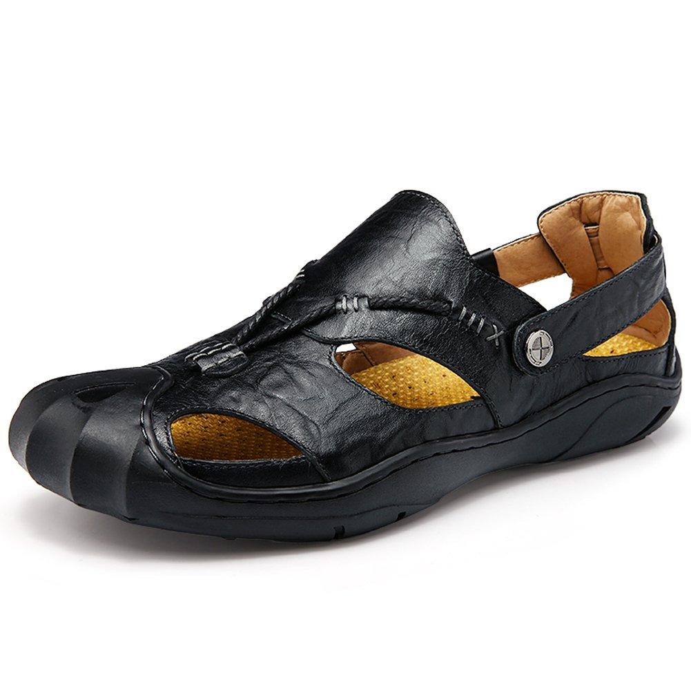 GOMNEAR Männer Leder Sandalen Geschlossene Zehe Comfy Schuhe Mode Strand Sommer Draussen Schuhe Schwarz