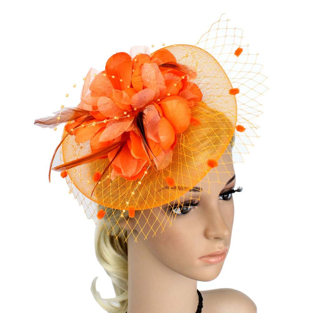 ACTLATI Charming Big Flower Headband Netting Mesh Hair Band Cocktail Hat Party Girls Women Fascinator Orange