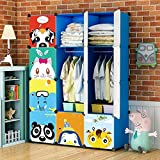 KOUSI Portable Kids Wardrobe Children Dresser Hanging Storage Rack Clothes Closet Bedroom Armoire Cube Organizer Formaldehyde-free Furniture, Blue, 8 Cubes&2 Hanging Sections