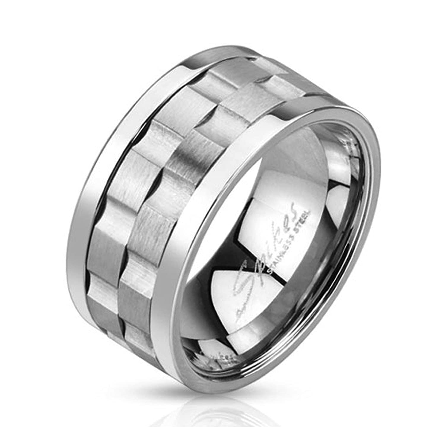stainless steel double gear shaped center design spinner ring ring width of 10mm - Gear Wedding Ring
