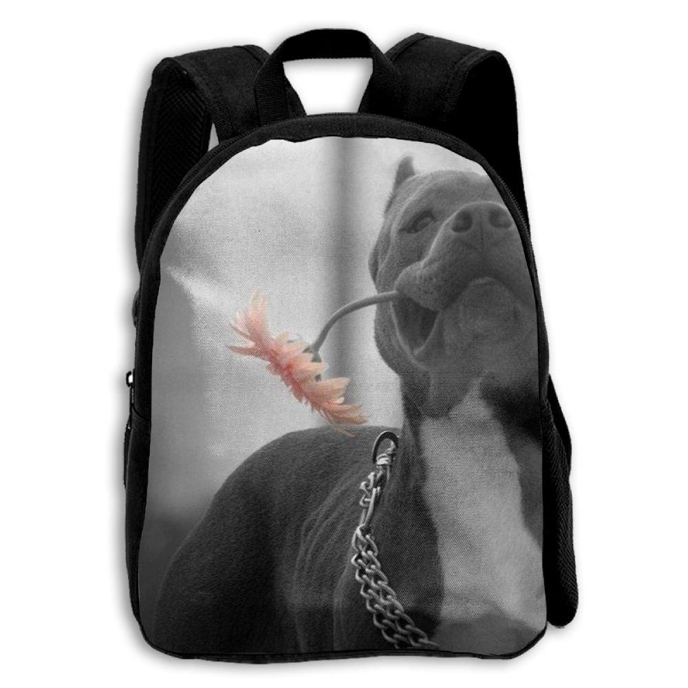Pit Bull Boy Kids Backpacks Double Shoulder Print School Bag Travel Daypack Gift by LAUR