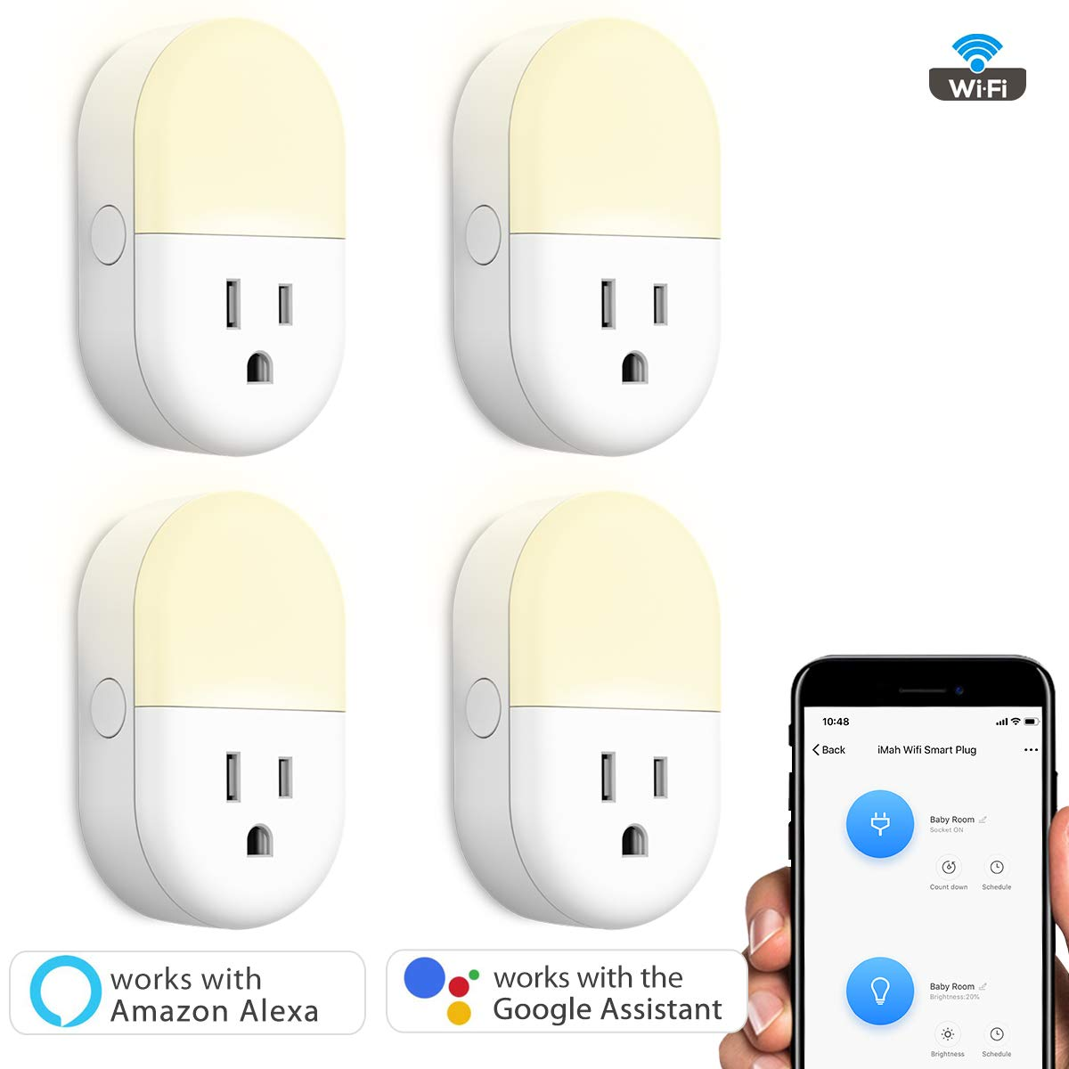 iMah Night Light Plug-in, Smart Plug works with Alexa Google Assistant IFTTT, WiFi Smart Plug Mini Outlet Socket control your Devices from Anywhere (4-Pack) by iMah (Image #2)