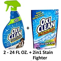 Oxi Clean Carpet & Area Rug Pet Stain & Odor Remover, 24.0 FL OZ (2 Pack + Stain Fighter Detergent)