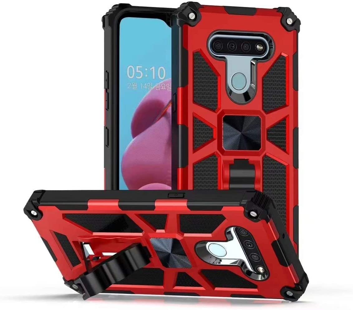 Red LG K51 Case Armor Gear Rugged Shockproof Military Drop Tested Protective Cover with Kickstand Support Magnetic Car Mount for LG K51