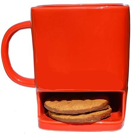 RED BISCUIT POCKET MUG Novelty Cookie Holder Pocket Coffee Tea Cup ...